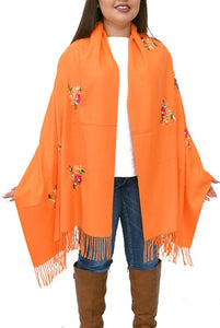 "S-QM2587 ORANGE FLOWER EMBROIDERED SCARF WITH PEARL DETAIL. 27 "" WIDE 77"" LONG."