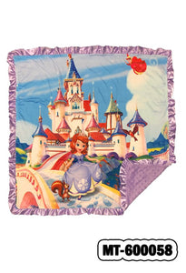 "SOFIA'S CASTLE BABY BLANKET WITH LAVENDER COZY FLEECE & RUFFLE TRIM. 32"" BY 32""   MT-600058"