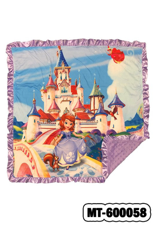 SOFIA'S CASTLE BABY BLANKET WITH LAVENDER COZY FLEECE & RUFFLE TRIM. 32