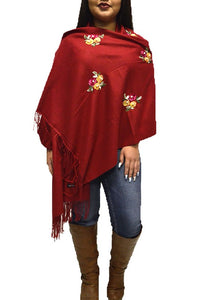 "S-QM2779 MAROON LADIES SCARF WITH EMBROIDERED FLOWERS & PEARL DETAILS. 27 "" WIDE 77"" LONG."
