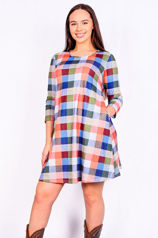 YMY6406 Multicolor plaid 3/4 sleeve dress w pockets