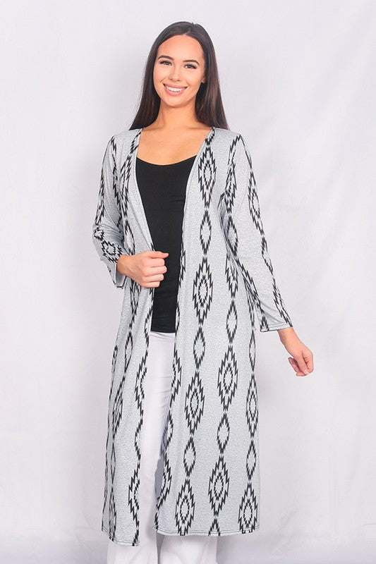 YMY5850 Aztec print long duster