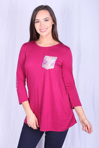 YMY4277 3/4 sleeve round neck pink color women t-shirt with pocket