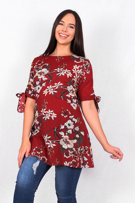 BQ6026 Burgundy floral tunic w/ knot tie sleeve