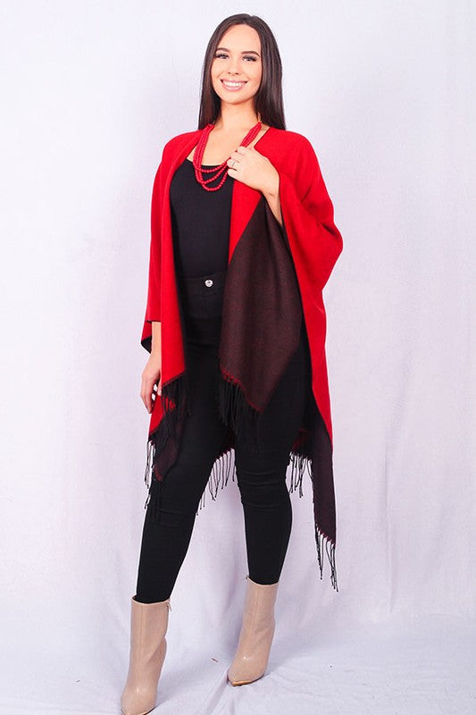 SL6028 Solid red/black open front reversible poncho with tassels
