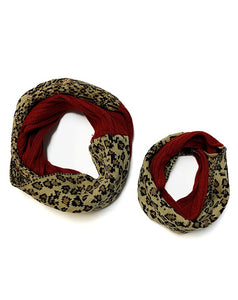 DR-MZ-900929 BURGUNDY & CHEETAH PRINTED WOMEN SCARF 2PCS/$12.00  (KIDS IS SOLD SEPARATELY