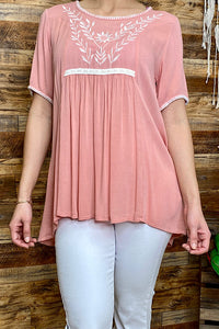 YT1004-1 Pink top w/white embroidery detail