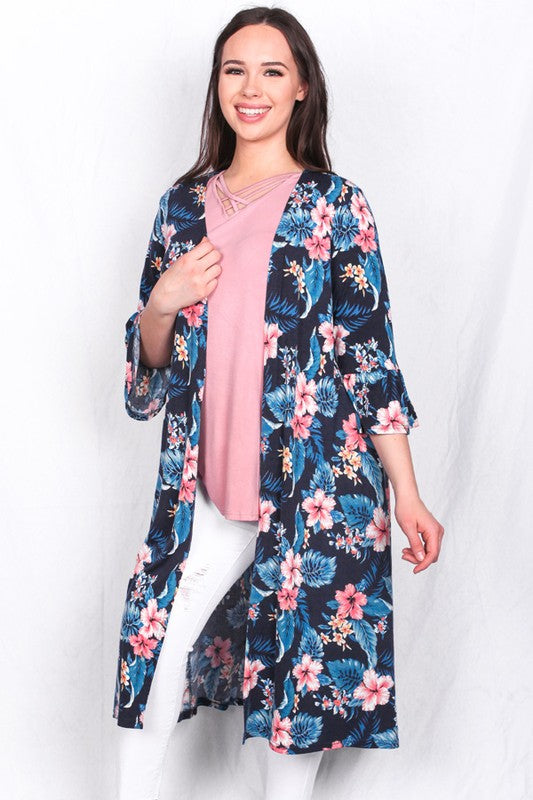 GJQ5501 Tropical floral printed long duster