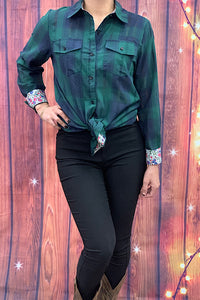 YT1079 Long sleeve green plaid button down top w floral printed sleeves