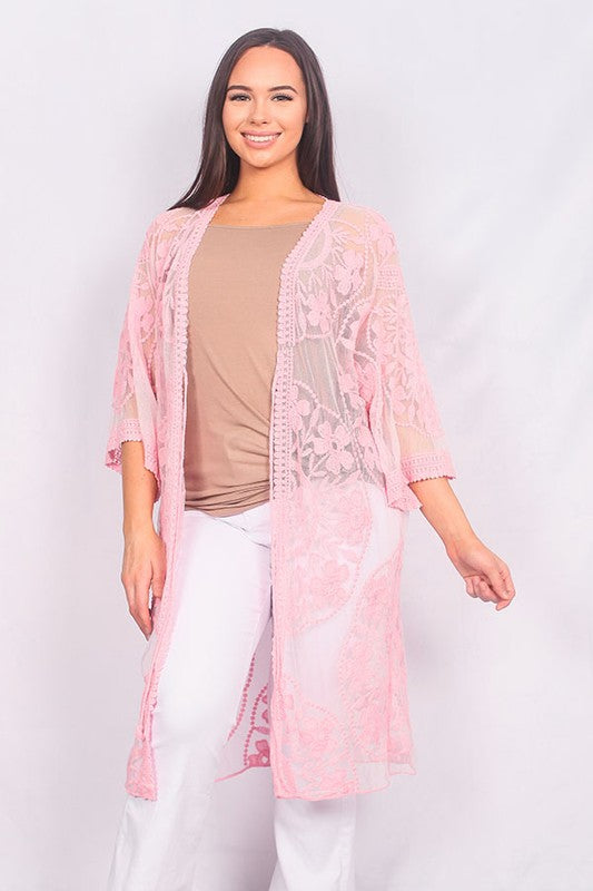 YZ180328 pink lace duster