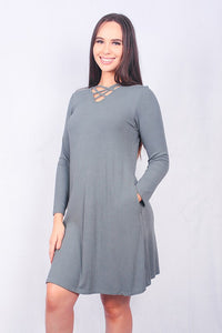 FW5823 Solid military green long sleeve dress with criss-cross neckline