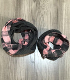 DR-MZ-900928 PINK & GRAY PRINTED WOMEN SCARF(KIDS IS SOLD SEPARATELY) 2PCS/$12.00