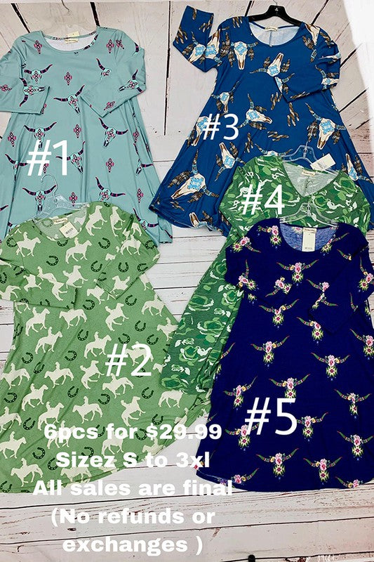 6pcs dresses for $29.99 sizes s to 3xl all sales are final (no refunds or exchanges)