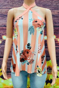 SD6835 Floral printed tie around neck top