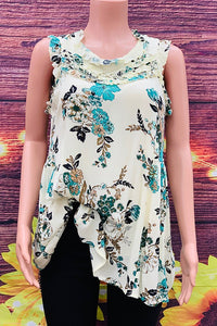 GJQ6889 Cream floral printed tank top (not stretchy)