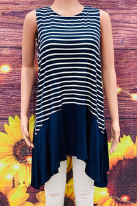 DL0381 Navy blue/white striped color block tank top