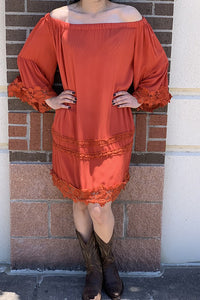 DQ2076 Solid Rust off shoulder tunic with lace details