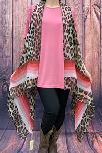 BA6982 Leopard printed red/pink striped vest