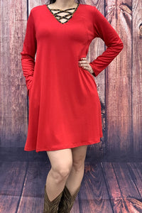 GJQ6235-2 Solid red dress w leopard printed criss cross neckline