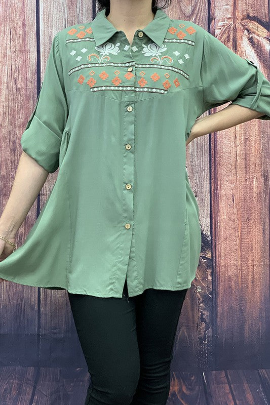 FW3665 Olive button down long sleeve embroidery top