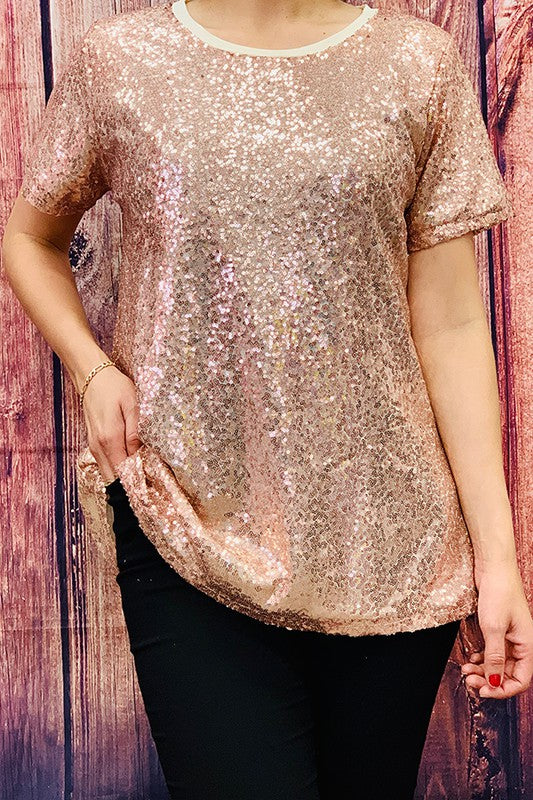 FW7229-2 Gold sequin short sleeve top