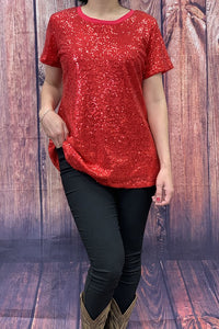 FW7229-1 Red sequin short sleeve top