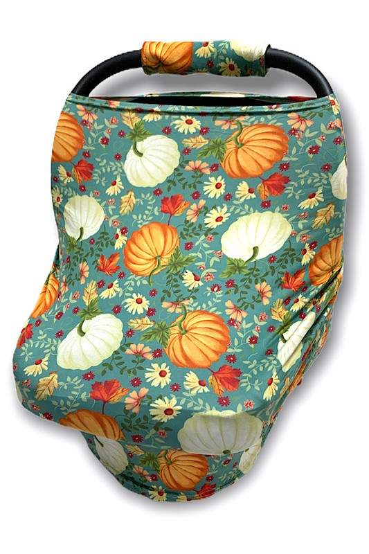 PUMPKIN,OAK LEAVES & DAISIES PRINTED ON CAR SEAT COVER. , CZ-DLH1834K