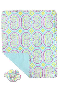 "SWIRL  PRINTED SWADDLE BLANKET WITH MATCHING HEADBAND.      (* 30 BY 35"" ) TZ-DLH0111K"