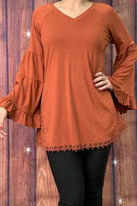 GJQ6021 Rust bell sleeve top w lace detail on the sides