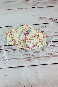 Cream floral printed adjustable & washable face mask w/5 filters included. 3pcs for $10.50