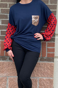 YMY6326 Navy blue top w polka dot printed bubble sleeves & front sequins pocket