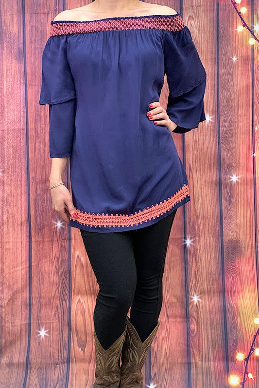 DQ2032 Solid blue off shoulder tunic top with smocked neckline