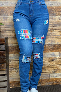 J139 Blue denim jeans w/ turquoise serape printed patches