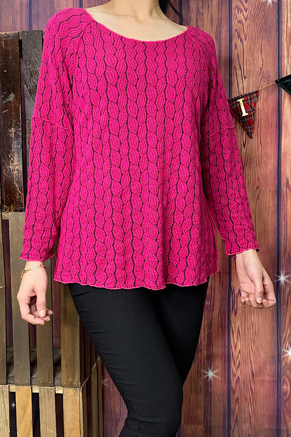 P0163S-Magenta long sleeve blouse