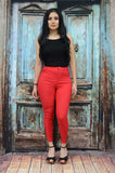 YMY2316-23 RED solid High waisted women jegging