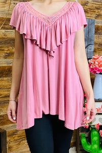 HX2934-2 Solid pink top w lace detail