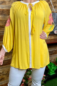 FW4408 3/4 sleeve embroidery yellow top with tassel