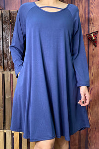 GJQ4787-2 Solid Blue dress w/pockets