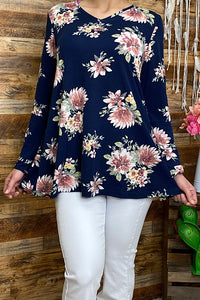 GJQ4789 Long sleeve floral printed V neck women fashion blouse