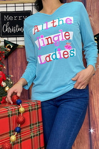 HX4820  3/4 SLEEVE V NECK ALL THE JINGLE LADIES PRINTED T SHIRT