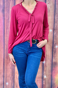 GJQ4954 Long sleeve with bow fuchsia women fashion blouse