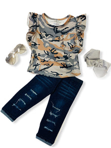 CAMOUFLAGE PRINTED TOP WITH RUFFLE SLEEVE.  DKTZ-504791