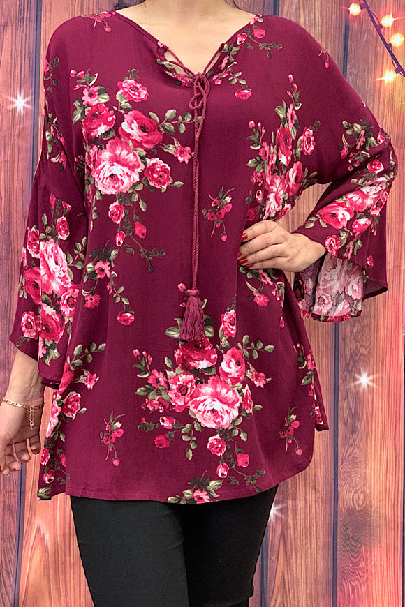 GJQ5049 floral printed top with bell sleeves
