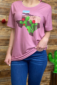 HX5159 cactus and Texas map printed t-shirt