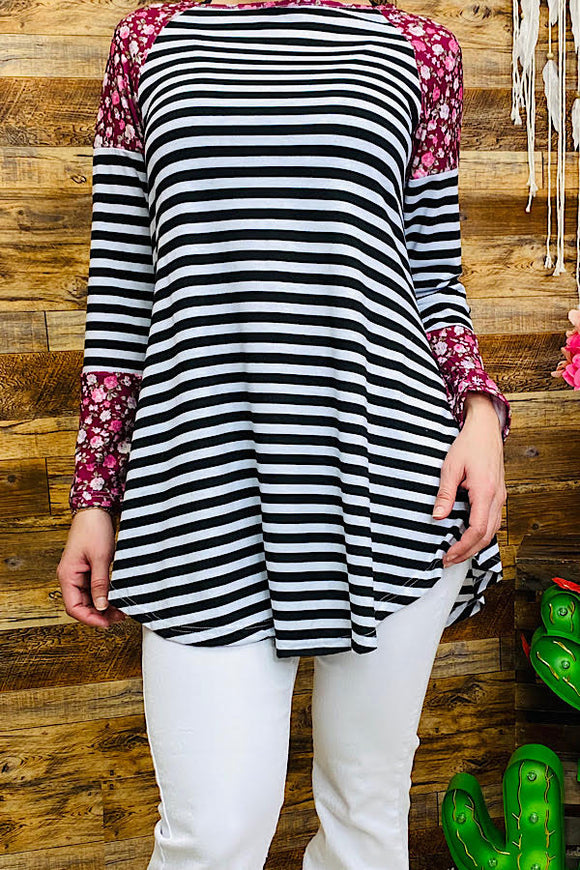 FW5335 Floral/striped printed long sleeve top