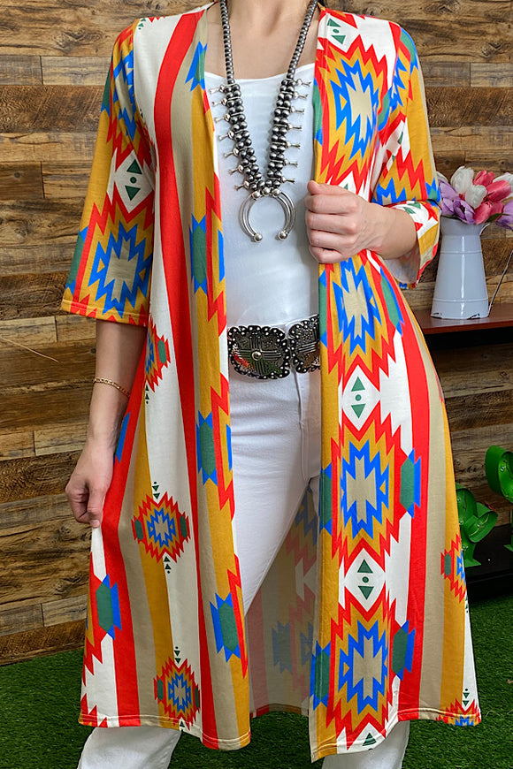 GJQ5589 Aztec printed long body duster for women