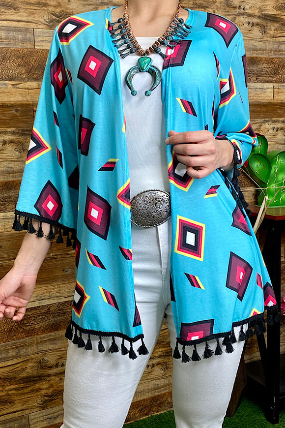 GJQ5595 Multi-color geometric printed cardigan w/tassels