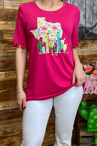 HX5602 Texas and cactus print fuchsia top with pom poms on the sleeves