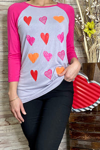 YMY5667 Heart printed graphic t-shirt