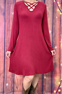 FW5823-2 Solid burgundy long sleeve dress with criss-cross neckline